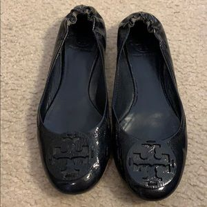 Tory Burch navy patent leather Reva flats